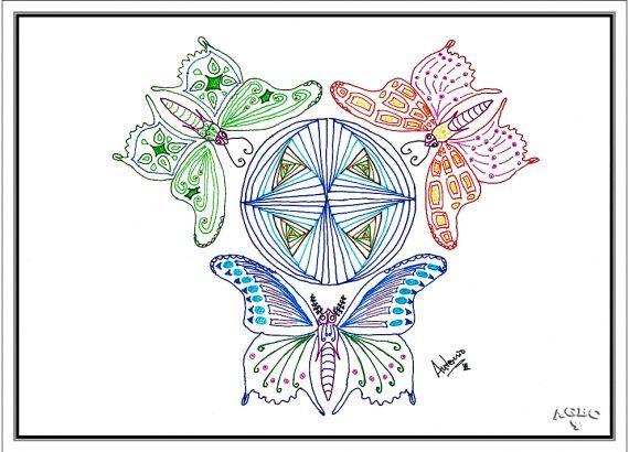 Zentangle - Tres mariposas alrededor del mundo